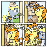 cardboard_box comic derpy_hooves golden_harvest mail mailbag muffinexplosion