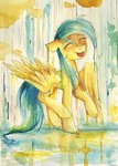 absurdres background_ponies highres mufflinka raindrops traditional_art