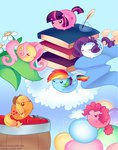 applejack apples balloon blob book cloud fabric flowers fluttershy inkwell main_six pekou pinkie_pie quill rainbow_dash rarity twilight_sparkle