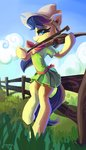 absurdres dress fence fiddlesticks hat highres saxopi violin