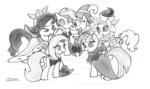 ambris applejack armor chancellor_puddinghead cloak clover_the_clever commander_hurricane costume crown fluttershy grayscale hat hearth's_warming_eve main_six pinkie_pie princess_platinum private_pansy rainbow_dash rarity smart_cookie twilight_sparkle