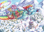 applejack flying pinkie_pie ponyville rainbow_dash rarity scenery sleigh snow sonic_rainboom the-wizard-of-art traditional_art