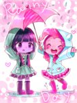 cottoncandyliquid equestria_girls humanized pinkie_pie rain twilight_sparkle umbrella