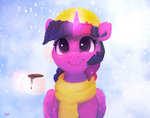 hat highres magic mug princess_twilight scarf snow thefloatingtree twilight_sparkle