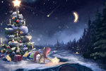 christmas christmas_tree fluttershy highres present snow sylar113 winter
