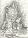 big_daddy bioshock crossover eternal-equilibrium little_sister ponified sketch weapon