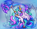 bathroom broom dragon highres magic mirror oksara princess_celestia