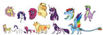 absurdres applejack bear changeling dragon earthsong9405 fluttershy highres incredibly_absurdres main_six pinkie_pie rainbow_dash rarity species_swap spike twilight_sparkle werewolf wolf