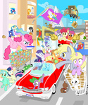 angel apple_bloom applejack background_ponies big_macintosh bipedal car cupcake cutie_mark_crusaders derpy_hooves dinky_hooves flag fluttershy gilda golden_harvest gummy lyra_heartstrings main_six mover_boss_pony muffin octavia_melody opalescence philomena pinkie_pie princess_celestia princess_luna rainbow_dash raindrops rarity scootaloo shutterflye soarin spike spitfire sweetie_belle sweetie_drops the_great_and_powerful_trixie twilight_sparkle vinyl_scratch winona wonderbolts