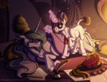 inuhoshi-to-darkpen magic princess_celestia raven_(pony) sleeping