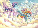 cloud cloudsdale flying princess_twilight rainbow_dash scootaloo the-wizard-of-art traditional_art twilight_sparkle