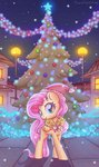 absurdres christmas_tree fluttershy hat highres musicfirewind nighttime tree