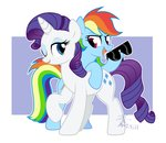 absurdres glasses highres rainbow_dash raridash rarity shipping sunglasses yaaaco