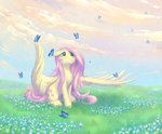 butterfly flowers fluttershy grass highres peachmayflower