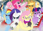applejack band bipedal drmeloche drums fluttershy guitar highres i_shall_not_use_my_hooves_as_hands insanity main_six pinkie_pie rainbow_dash rarity twilight_sparkle