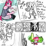 alternate_universe anthro comic gummy highres personality_swap pinkie_pie siden sketch sketch_sheet ultimare_universe