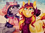 dennyvixen hat princess_twilight scarf snow snowing sunset_shimmer tongue traditional_art twilight_sparkle winter