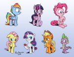 applejack fluttershy main_six pinkie_pie pony-berserker rainbow_dash rarity spike twilight_sparkle