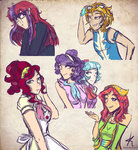 cherry_jubilee coco_pommel highres humanized kikirdcz lightning_dust moondancer suri_polomare tree_hugger