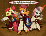 apple_bloom armor arrow bow_(weapon) comic costume crusaders cutie_mark_crusaders dcencia i_shall_not_use_my_hooves_as_hands magic parody scootaloo shield sweetie_belle sword the_elder_scrolls weapon