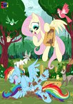 absurdres ant bird duck ferret fluttershy goat highres jowybean owl rainbow_dash squirrel