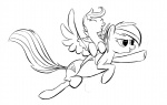 lineart pony_ride_the_pony rainbow_dash riding rubrony scootaloo