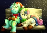 boots christmas hat lyra_heartstrings moonlightfl santa_hat scarf snow snowing sweetie_drops winter