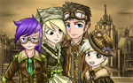amethyst_star derpy_hooves dinky_hooves hat humanized paper_bag saturnspace steampunk time_turner