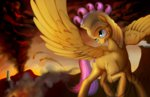 blood fire fluttershy grimdark helmet highres injured warhorse xormak