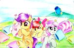absurdres apple_bloom cannon cushion cutie_mark_crusaders highres liaaqila scootaloo sweetie_belle traditional_art