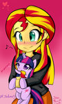 blush blushy_as_fuck equestria_girls hair heart nom species_confusion sunset_shimmer twilight_sparkle
