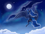 cloud flying highres lionylioness moon nighttime princess_luna stars