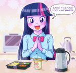anime anime_as_fuck equestria_girls humanized kettle kitchen noodles twilight_sparkle uotapo