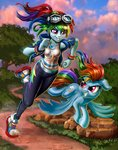 absurdres equestria_girls flying goggles harwick highres humanized race rainbow_dash running species_confusion tree