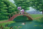 bird bridge duck highres luminousdazzle original_character scarf trees water