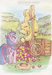applejack apples cart daisymane highres traditional_art trees twilight_sparkle upside_down