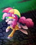 absurdres clothes hat highres pinkie_pie rain scarlet-spectrum umbrella umbrella_hat