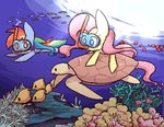 diving fish fluttershy joycall3 ocean pixel_art rainbow_dash scuba turtle underwater