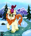 absurdres autumn_blaze highres kirin snow snowing theretroart88 trees winter