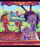 absurdres anthro apple_bloom applejack highres holivi rainbow_dash rarity sandbox scootaloo sweetie_belle toys