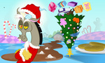 applejack blackgryph0n christmas christmas_tree discord fluttershy hat highres main_six pinkie_pie present pumpkin rainbow_dash rarity santa_hat twilight_sparkle umbrella