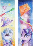 bookmark cape hat kite moonlight-ki starlight_glimmer stars teacup the_great_and_powerful_trixie traditional_art