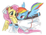 dress flutterdash fluttershy rainbow_dash shipping tuxedo wedding yubi