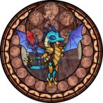 akili-amethyst armor bloodstone_scepter drafon dragon_lord_torch garble highres princess_ember spike stained_glass