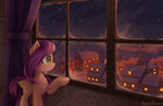 emeraldgalaxy fluttershy highres house ponyville window