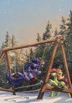 highres koviry original_character snow swing trees