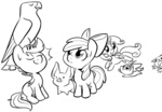 apple_bloom briskby cat cutie_mark_crusaders falcon lineart opalescence pet pig scootaloo sweetie_belle
