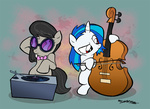 bipedal cello filly i_shall_not_use_my_hooves_as_hands instrument octavia_melody turntable vinyl_scratch willdrawforfood1