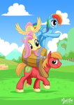 barrel big_macintosh fluttershy highres mysticalpha pony_ride_the_pony rainbow_dash riding