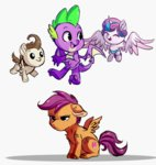 hikariviny pound_cake princess_flurry_heart scootaloo spike